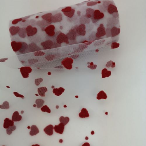 Red Hearts Soft Tulle 6""